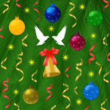 Christmas ball with pine tree and bells Royalty Free Stock Photography