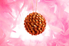 Christmas ball on pink fluff Stock Image
