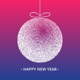 Christmas ball in pink and purple background. Happy New Year let. Tering. Vector illustration for greeting card Royalty Free Stock Photo