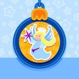 Christmas ball, postcard, Christmas, Angel Royalty Free Stock Images