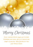 Christmas ball poster card Royalty Free Stock Images