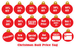 Christmas Ball Price Tag. Decoration Royalty Free Stock Photography