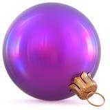 Christmas ball purple decoration New Year`s Eve bauble shiny Stock Photo