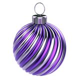 Christmas ball purple silver striped bauble royalty free illustration