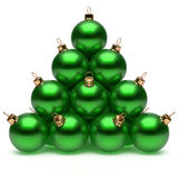 Christmas ball pyramid green New Year's Eve bauble group. Adornment decoration glossy spheres ornament metallic. Happy Merry Xmas traditional wintertime Royalty Free Stock Images
