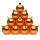 Christmas ball pyramid orange golden New Year`s Eve baubles Stock Photography