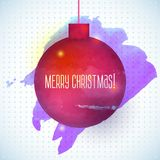 Christmas ball  red abstract watercolor background Stock Images