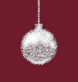 Christmas ball on red backdrop made from white Stock Photos