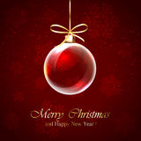 Christmas ball on red background Royalty Free Stock Images
