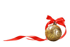 Christmas ball with red bow and ribbon Stock Photo