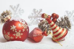 Christmas ball with red bow. And ribbon Stock Images