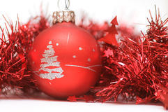 Christmas ball in red decoration Stock Photography