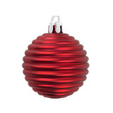 Christmas ball red decoration isolated on white. Royalty Free Stock Images