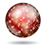 Christmas ball red glitter isolated Stock Photography