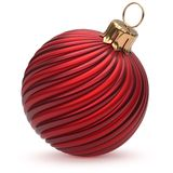 Christmas ball red New Year`s Eve decoration hanging bauble. Wintertime adornment twisted stripes shiny souvenir closeup. Happy Merry Xmas traditional ornament Stock Photography
