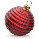 Christmas ball red New Year`s Eve decoration striped bauble. Wintertime hanging adornment waved stylish souvenir. Traditional ornament happy winter holidays Stock Image