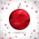 Christmas Ball. Red Christmas Ball with Pattern of Squares on Background of Snowflakes, Vector Illustration EPS10 Stock Images