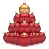 Christmas ball red pyramid leader golden on top first place win. Ner New Year`s Eve baubles group decoration. Compare leadership hierarchy success Happy Merry Royalty Free Stock Photo