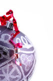 Christmas ball with red ribbon Stock Photo