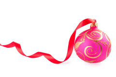 Christmas ball with a red ribbon Stock Photo