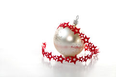 Christmas ball with red ribbon Royalty Free Stock Photos