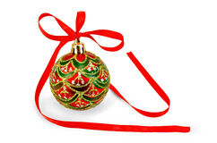 Christmas ball with red ribbon Royalty Free Stock Photo