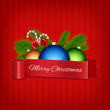 Christmas ball with red ribbon Royalty Free Stock Photography