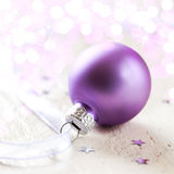 Christmas ball with ribbon Royalty Free Stock Images