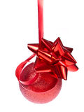 Christmas ball with ribbon Stock Photos