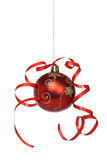 Christmas ball with a ribbon Royalty Free Stock Photography