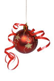 Christmas ball with a ribbon Royalty Free Stock Images