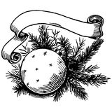Christmas ball and ribbon. A branch of the Christmas tree, ball and ribbon Stock Photos
