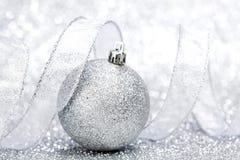 Christmas ball and ribbon Stock Photo