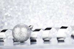 Christmas ball and ribbon Royalty Free Stock Photos