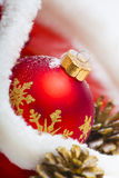 Christmas ball and ribbon. Christmas ball with red bow and ribbon Royalty Free Stock Images