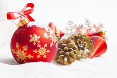 Christmas ball and ribbon Stock Photography