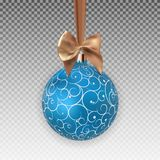 Christmas Ball with Ball and Ribbon on Transparent Background Vector Illustration Royalty Free Stock Photography