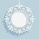 Christmas ball, round cutout paper frame template Royalty Free Stock Image