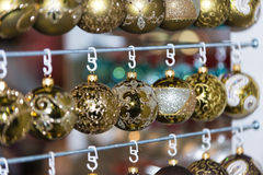 Christmas ball in a row, selective focus Royalty Free Stock Photo