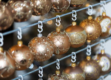Christmas ball in a row, selective focus. Christmas decorative balls in a row royalty free stock photography
