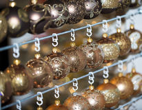 Christmas ball in a row, selective focus. Christmas decorative balls in a row royalty free stock photo