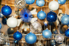 Christmas ball in a row, selective focus. Christmas decorative balls in a row stock illustration