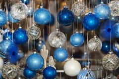 Christmas ball in a row, selective focus. Christmas decorative balls in a row vector illustration