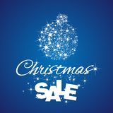 Christmas Ball Sale discount blue background. Ball stardust vector Stock Image