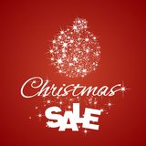 Christmas Ball Sale discount red background. Ball stardust vector Royalty Free Stock Photography
