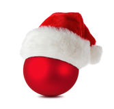 Christmas ball with santa's hat Stock Images