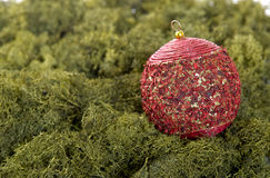 Christmas ball scene. Red christmas ball background on a green nature scene Royalty Free Stock Photography