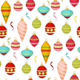 Christmas ball seamless pattern colourful winter holiday xmas decoration sphere new year festival flat design vector. Illustration. Festive bauble textile Stock Photo
