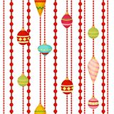 Christmas ball seamless pattern colourful winter holiday xmas decoration sphere new year festival flat design vector. Illustration. Festive bauble textile Royalty Free Stock Photo