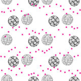 Christmas ball seamless pattern in vintage style with various pattern of ball such as stripe, snowflake, star Royalty Free Stock Photography